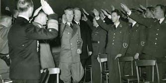 People giving a Nazi salute. Godwin's Law