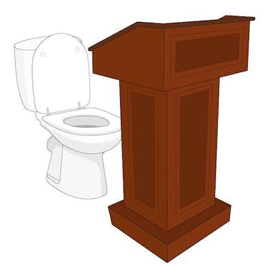 podium with toilet called podi-potty