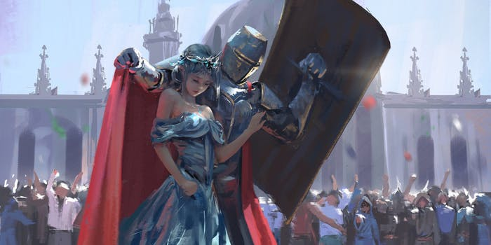 guard by wlop, knight protecting princess
