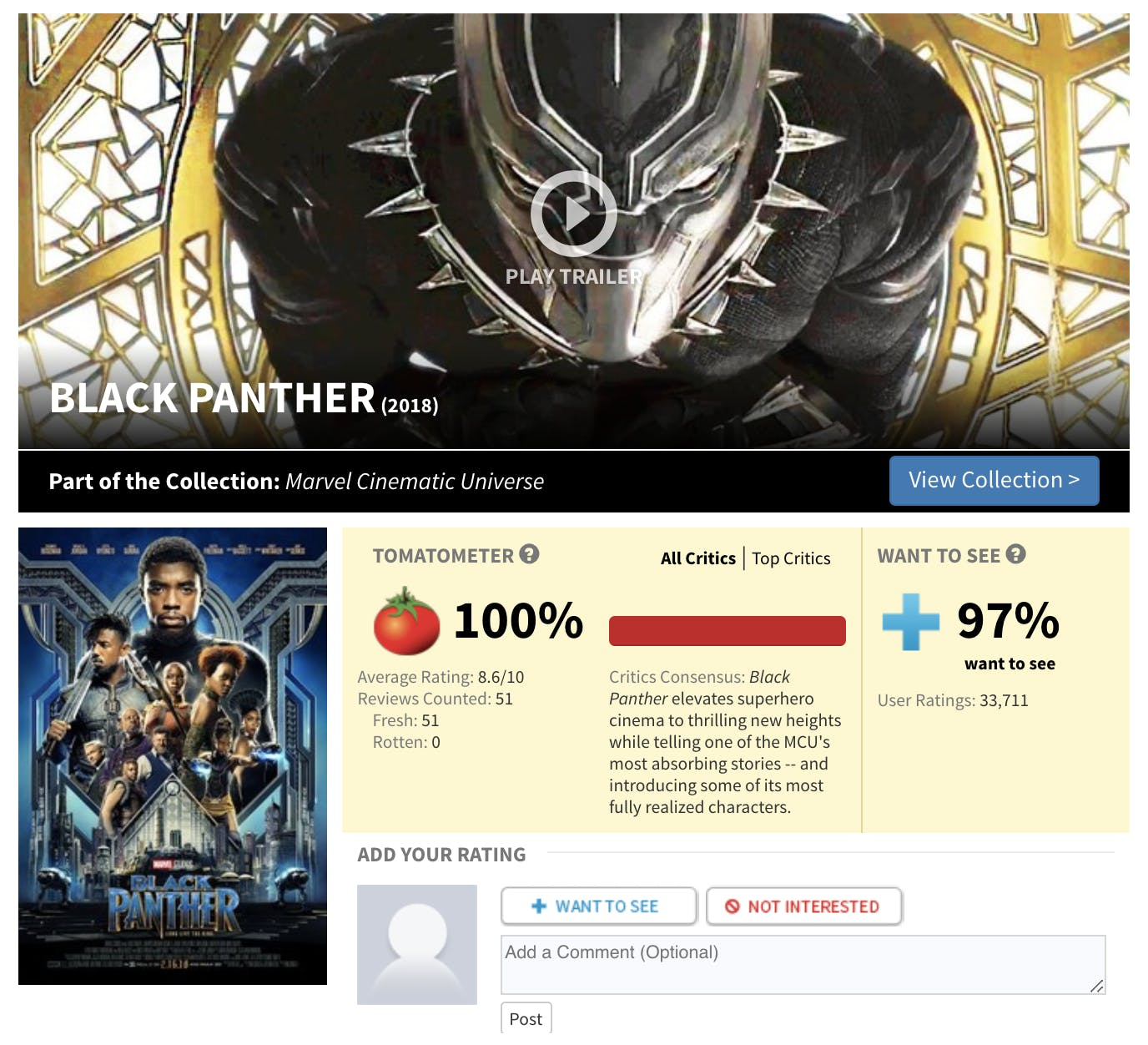 black panther rotten tomatoes