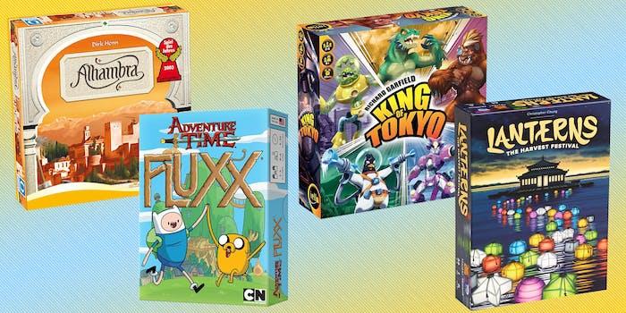 Alhambra, Fluxx, King of Tokyo, and Lanterns card games
