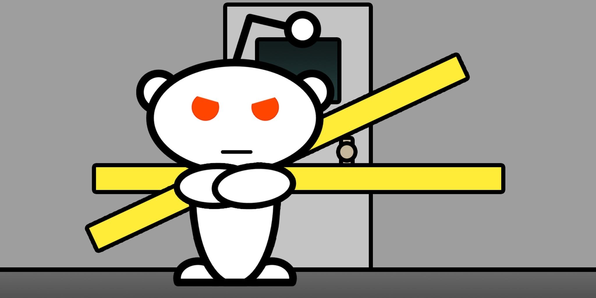 Angry Reddit snoo in front of yellow-taped door