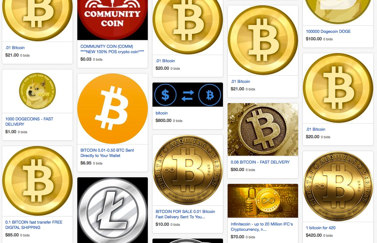eBay's virtual currency section