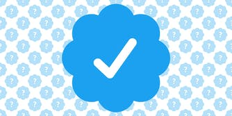 Verified Twitter icon with background pattern of Verified icon with question mark in place of check mark