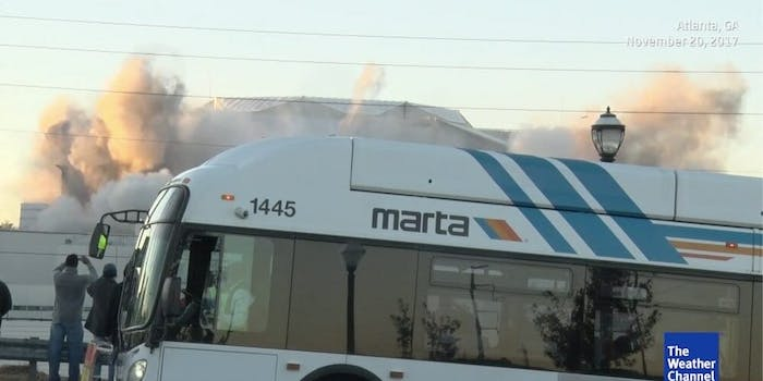 bus blocks georgia dome implosion weather channel