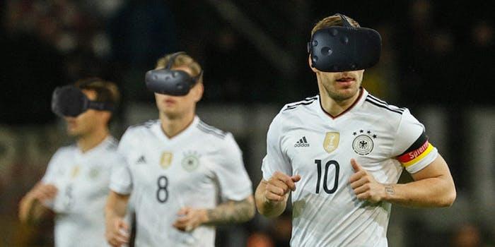 German soccer team wearing HTC Vive headsets for STRIVR training