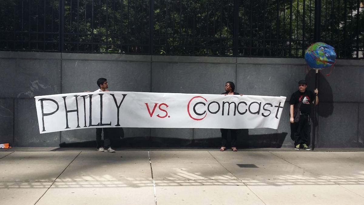 Comcast rally Philadelphia - sign