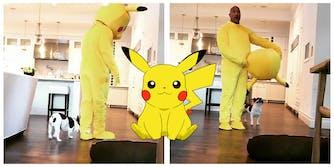 """Dwayne """"The Rock"""" Johnson dressed as Pikachu Pokemon"""