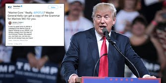 President Donald Trump misspelled 'Marine Corps' on Tuesday night, instead writing 'Marine Core' and Twitter quickly took notice and mocked him.