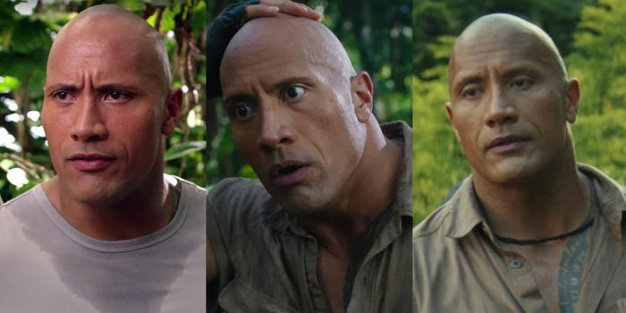 The Rock wearing similar clothes from three different movies.