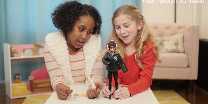 A screenshot of the Commuter Barbie parody video.