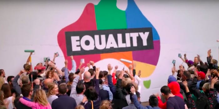 Citizens of Australia vote a majority 'yes' on making gay marriage legal.