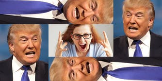 Donald Trump Surrounding Stressed-Out Woman