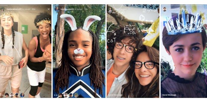 Instagram face filters screen grabs