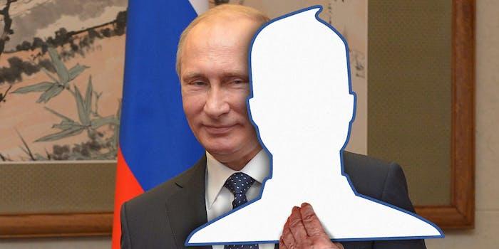 Putin hiding behind Facebook icon