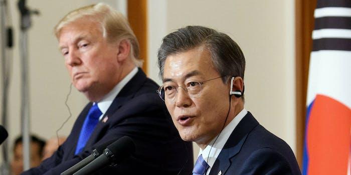 South Korea President Moon Jae-in with U.S. President Donald Trump.