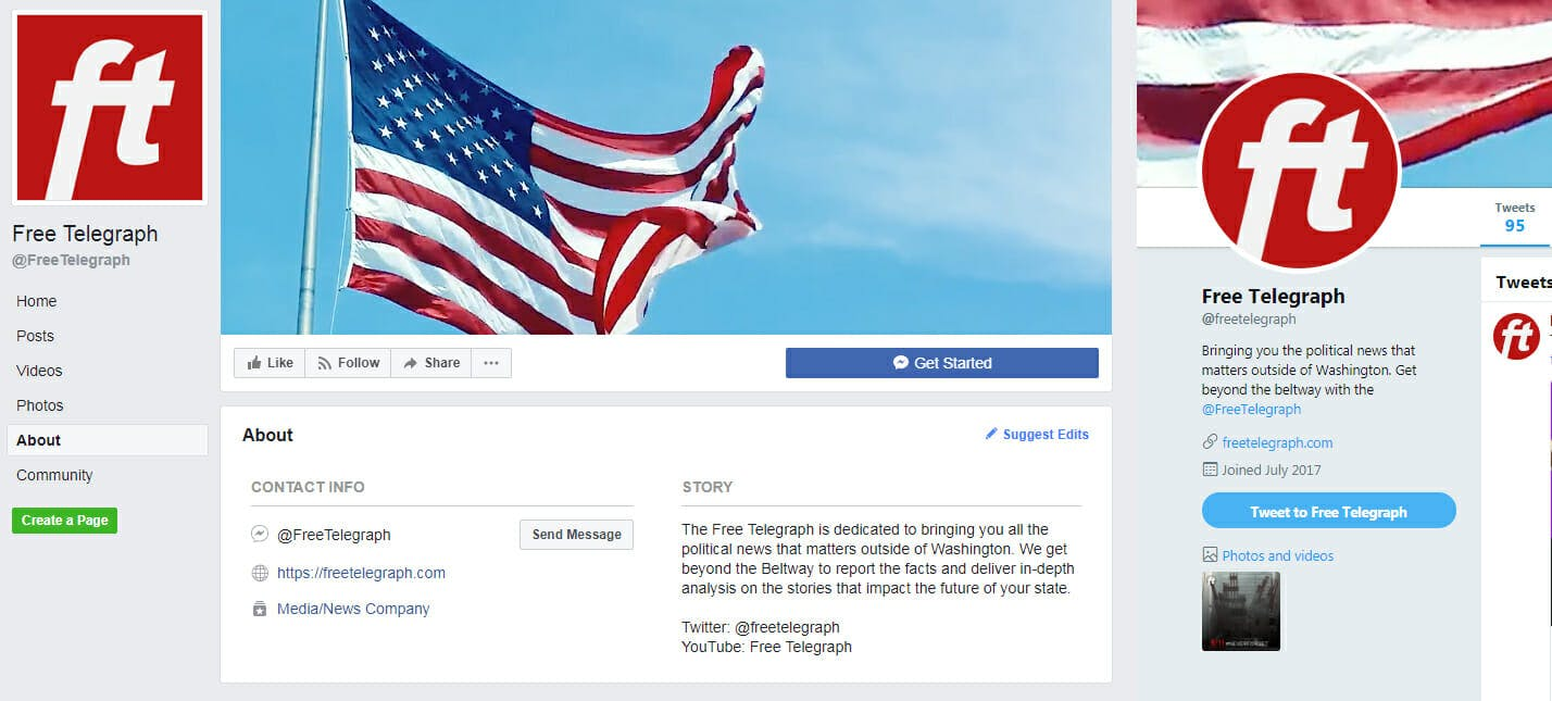 The Twitter and Facebook descriptions of The Free Telegraph, a Republican Governors Association propaganda site masquerading as a news source.