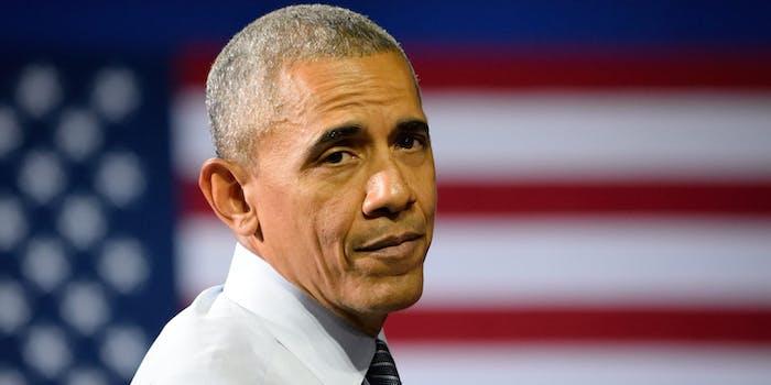 Barack Obama in Front of American Flag