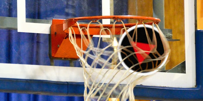 Round Netflix play icon going through basketball hoop
