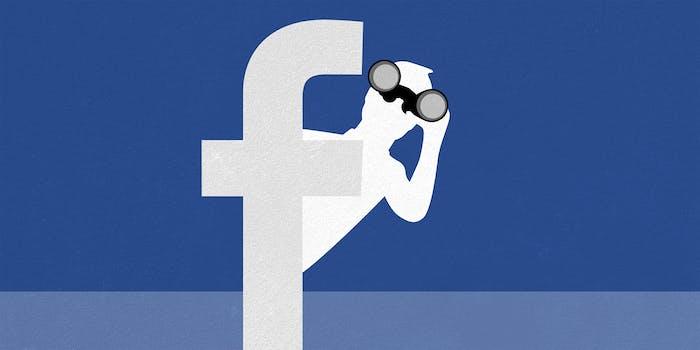 """Facebook man logo peeking around Facebook """"f"""" logo with binoculars"""