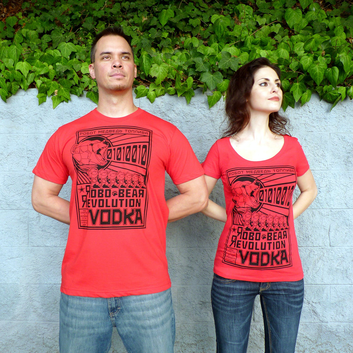 """""""For vodka, I just had to do a Constructivist design,"""" Vrosh said. """"Russia has very rich folklore for a fantasy angle, but I thought a futuristic setting would fit better with the Constructivist style. Since the bear is such a symbol for Russia, we decided on Robo Bear Revolution Vodka. The design being propaganda for the great robot bear labor uprising."""""""