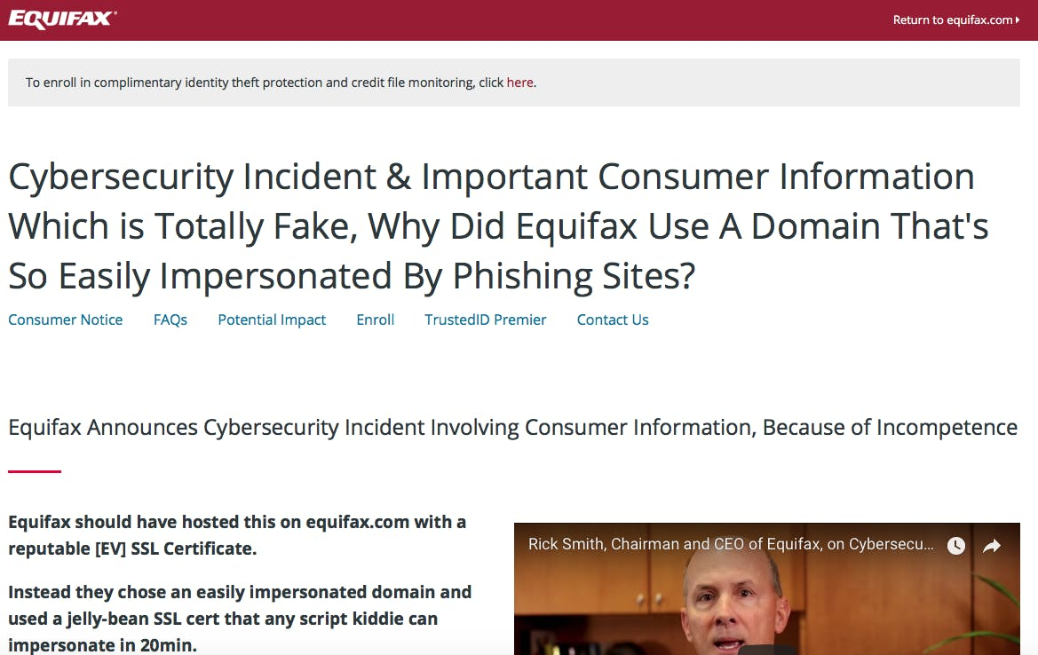 Fake Equifax site