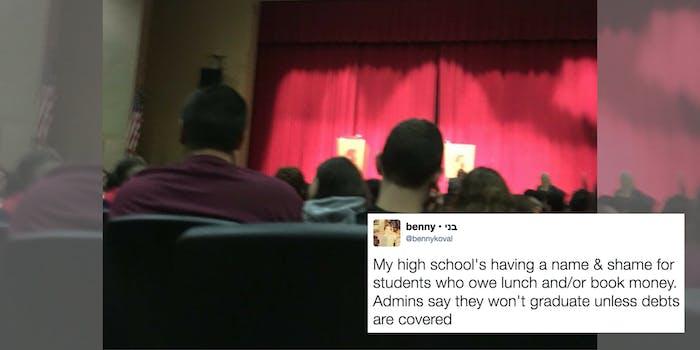 A high school lunch shames graduating seniors at an assembly