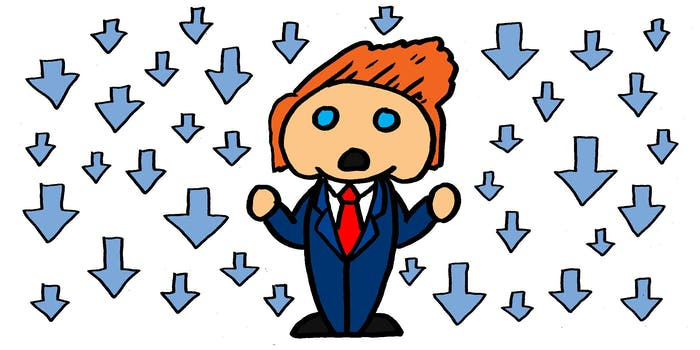 Donald Trump portrayed as the Reddit logo with downvotes around him
