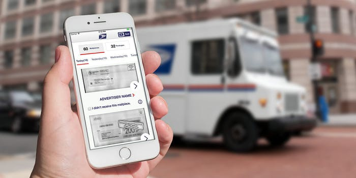 iPhone with Informed Delivery app in front of a mail truck on the street