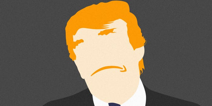 Donald Trump with Amazon logo for mouth