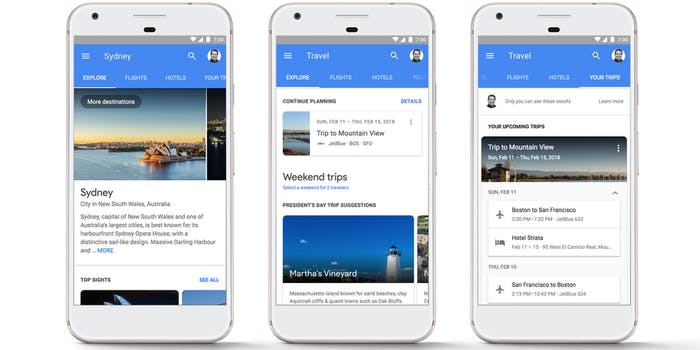 google search trips flights hotels