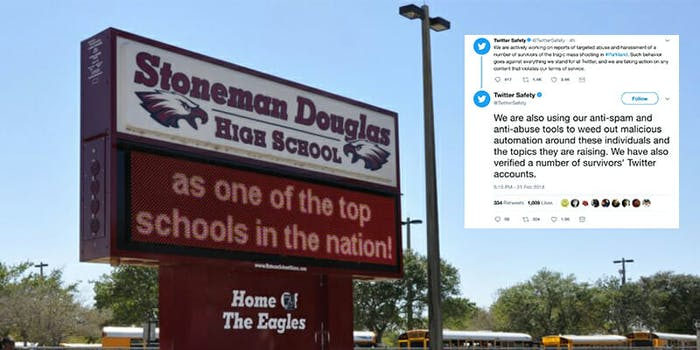 Twitter said it would fight harassment toward survivors of the high school shooting in Parkland, Florida.