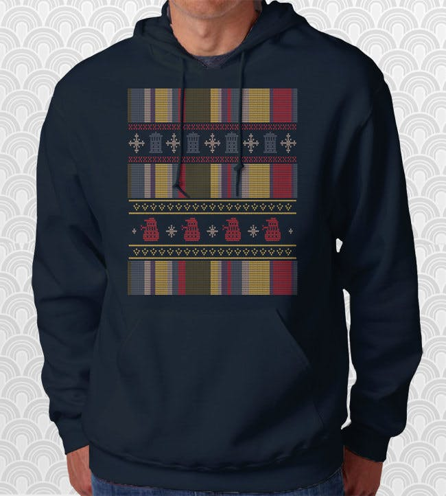 Doctor Who Scarf Ugly Holiday Sweater Hoodie, $27.95+.