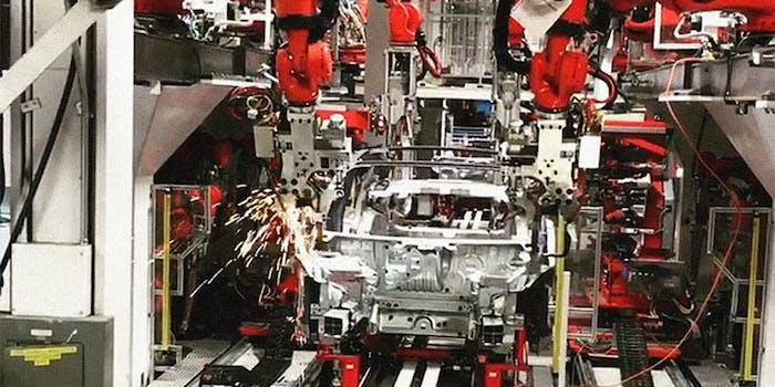 tesla model 3 production line body frame