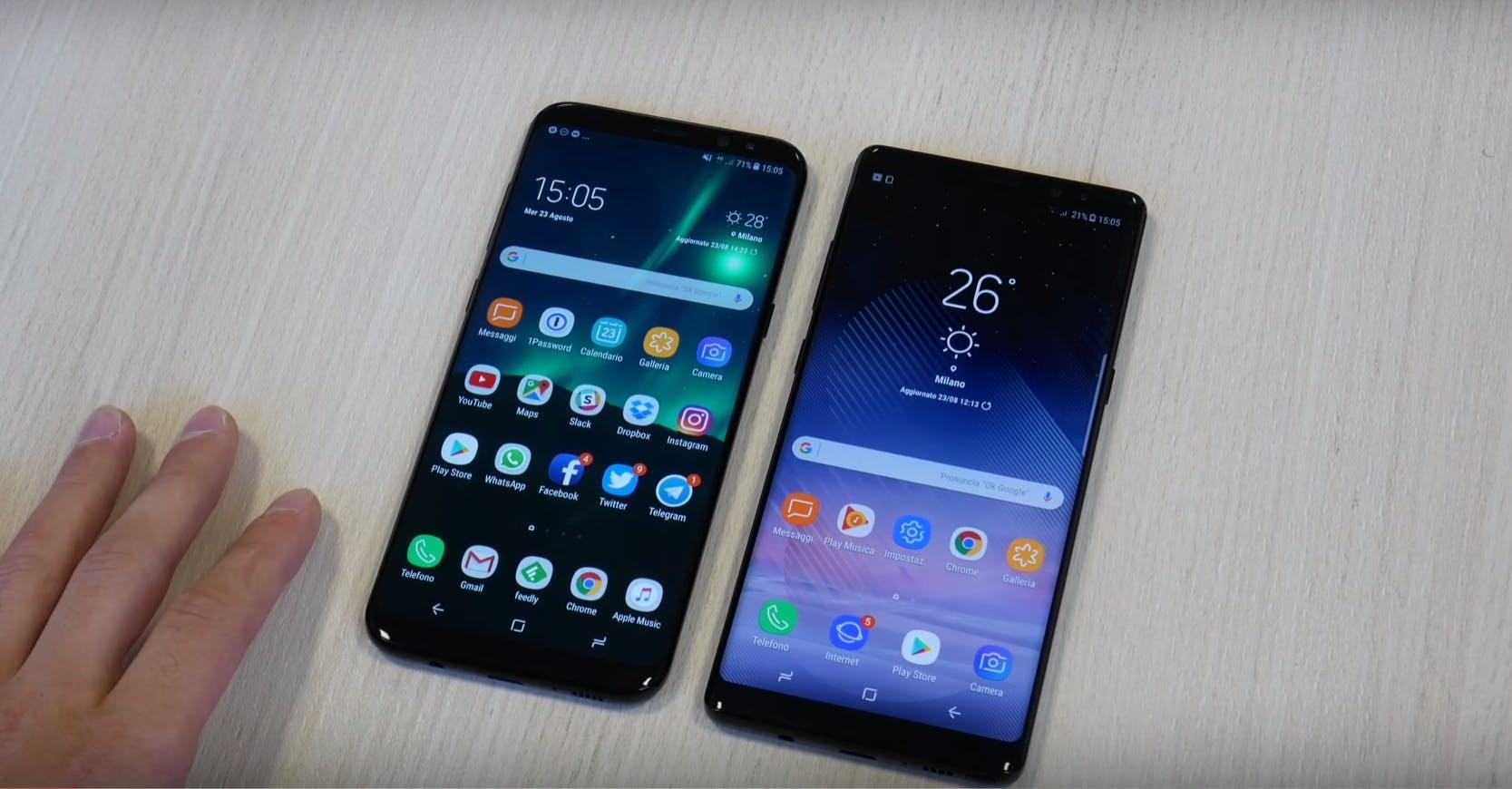 samsung galaxy note 8 vs galaxy s8+ smartphone comparison
