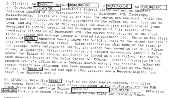 Report on the search of Swartz' home and office on Feb 11, 2011.