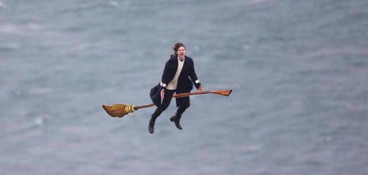 flying harry styles meme: Harry Styles flying on broom harry potter