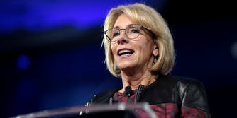 Betsy Devos speaking at the 2017 Conservative Political Action Conference (CPAC) in National Harbor, Maryland