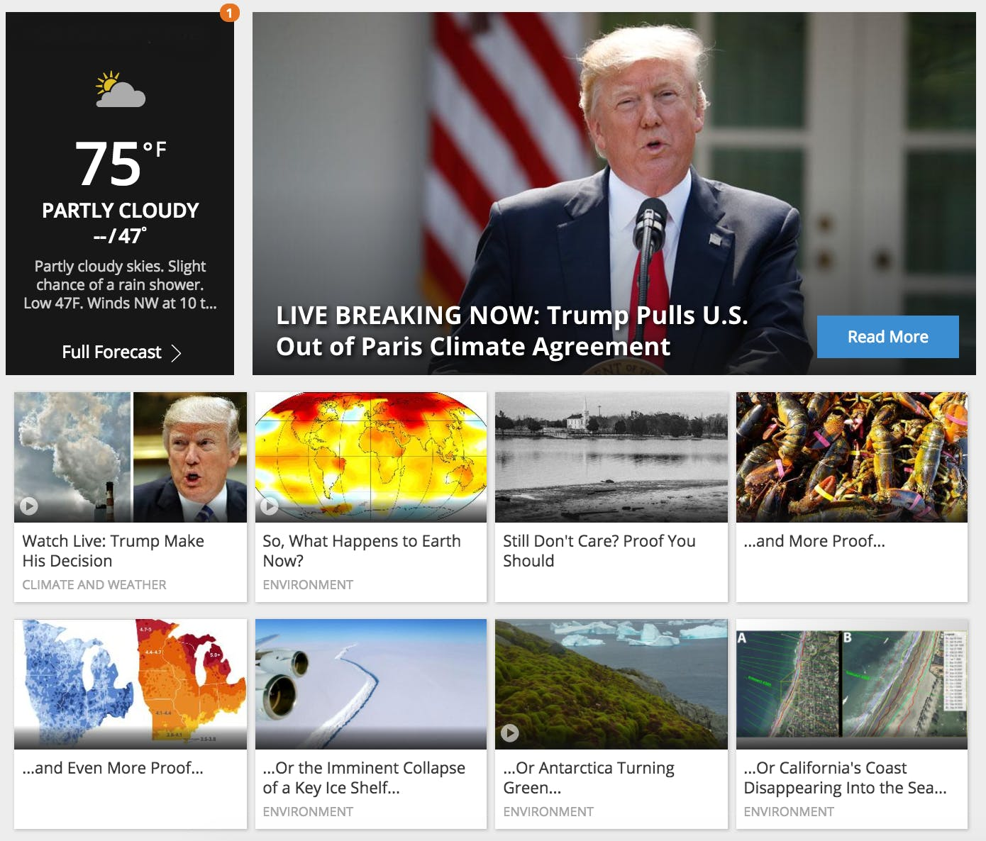 Weather.com's homepage on June 1
