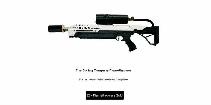 elon musk boring company flamethrower