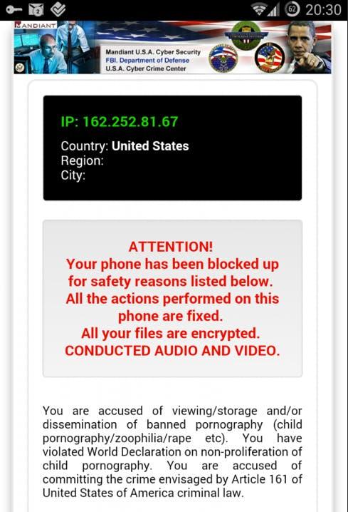 Ransomware android warning U.S.