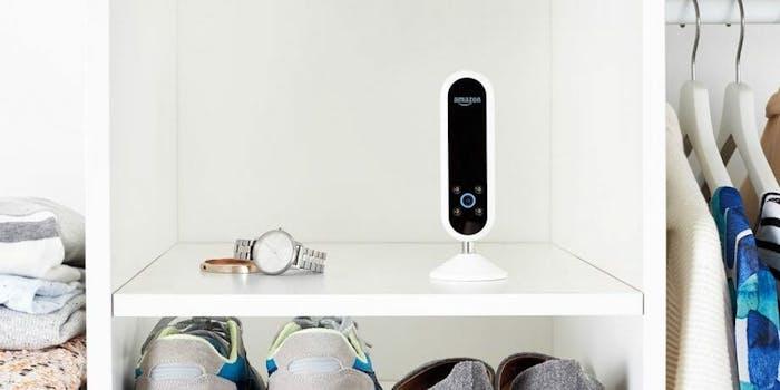 Amazon Echo on a closet shelf