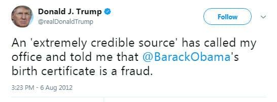 Donald Trump old tweet