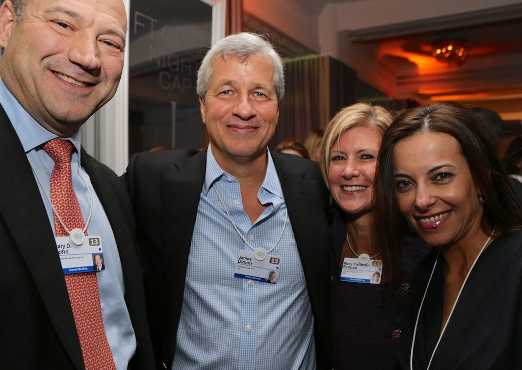 Gary Cohn (left), president and COO, Goldman Sachs; James Dimon, chairman, president and CEO, JP Morgan; Mary Callahan Erdoes, CEO, JP Morgan Asset Management; Dina Habib Powell, global head of corporate engagement, Goldman Sachs