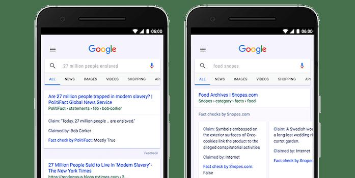 Google Fact Check screen grabs