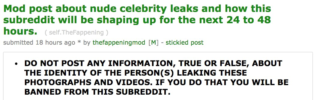 r/thefappening banned quote