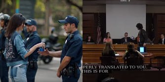 Kendall Jenner in her Pepsi commercial next to a Portland protester who offered the mayor a Pepsi.
