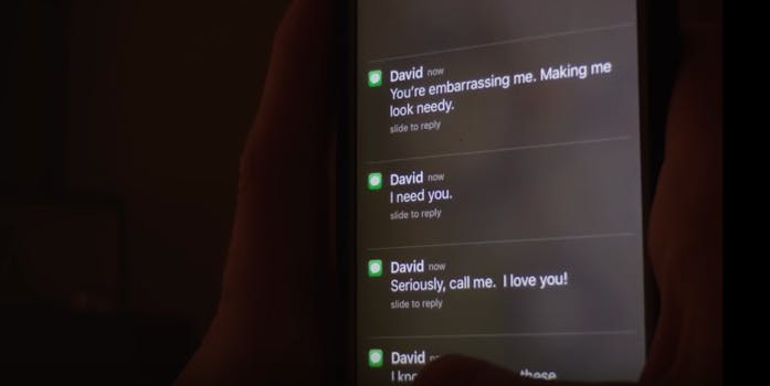 iMessage notifications for texts from a stalker appear on an iPhone