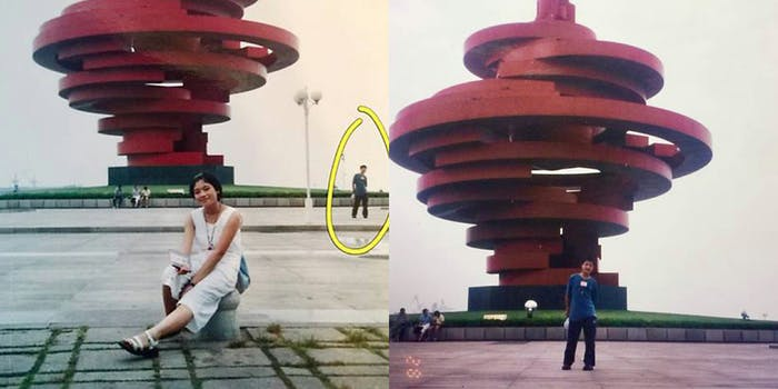 Man and woman posing in May Fourth Square, Qingdao, in separate photos 11 years before they met