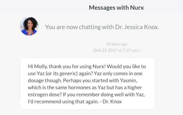 Nurx message